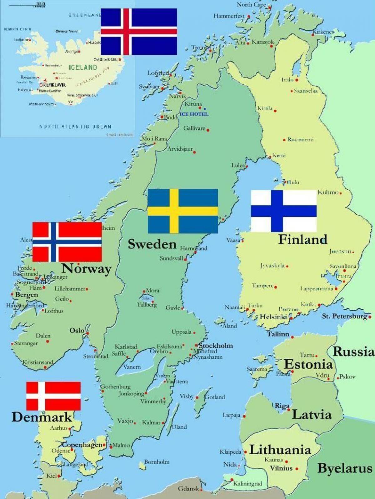 Kaart Van Zweden En De Omringende Landen Zweden Surround Landen
