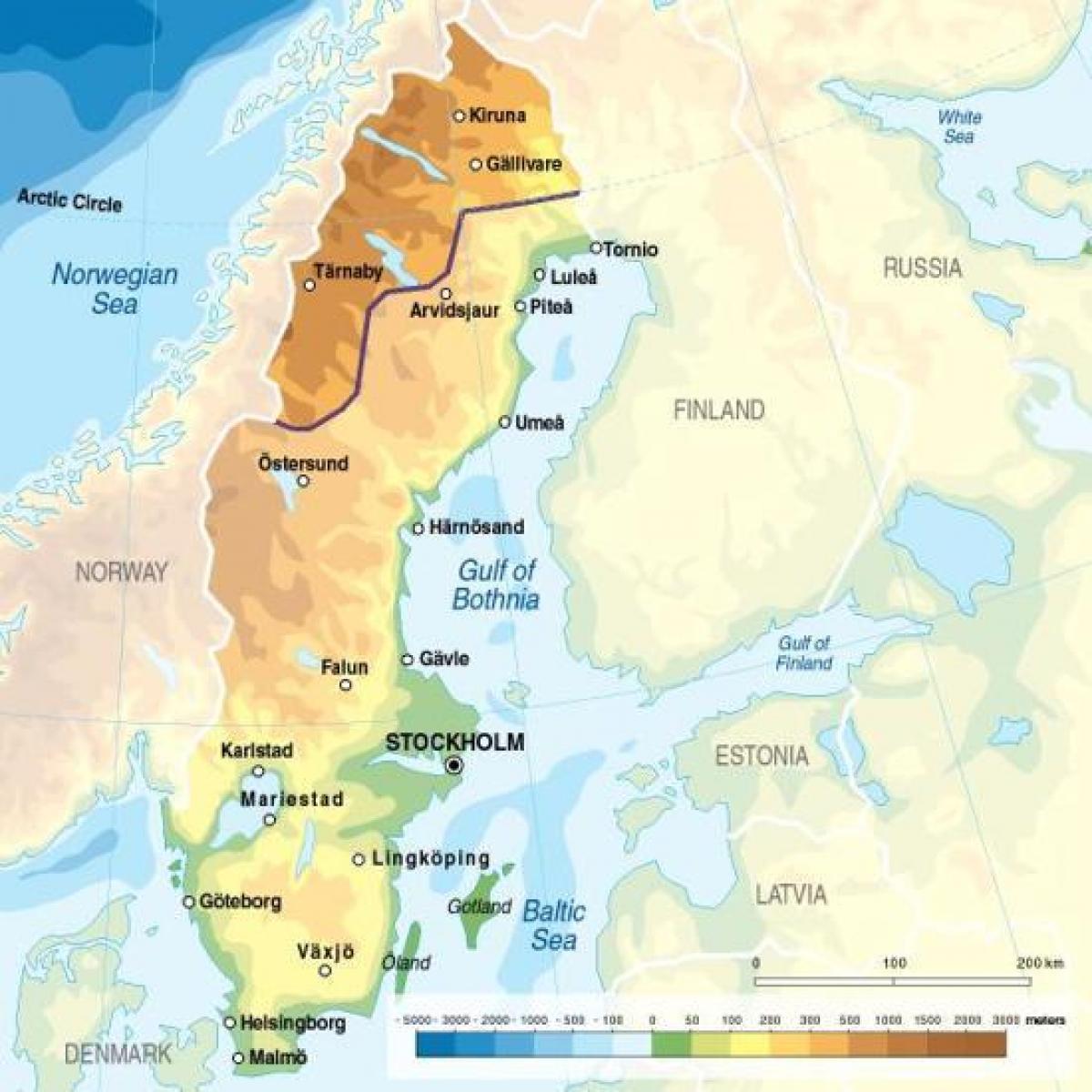 Zweden Hoogte Kaart Kaart Van Zweden Hoogte Noord Europa Europa