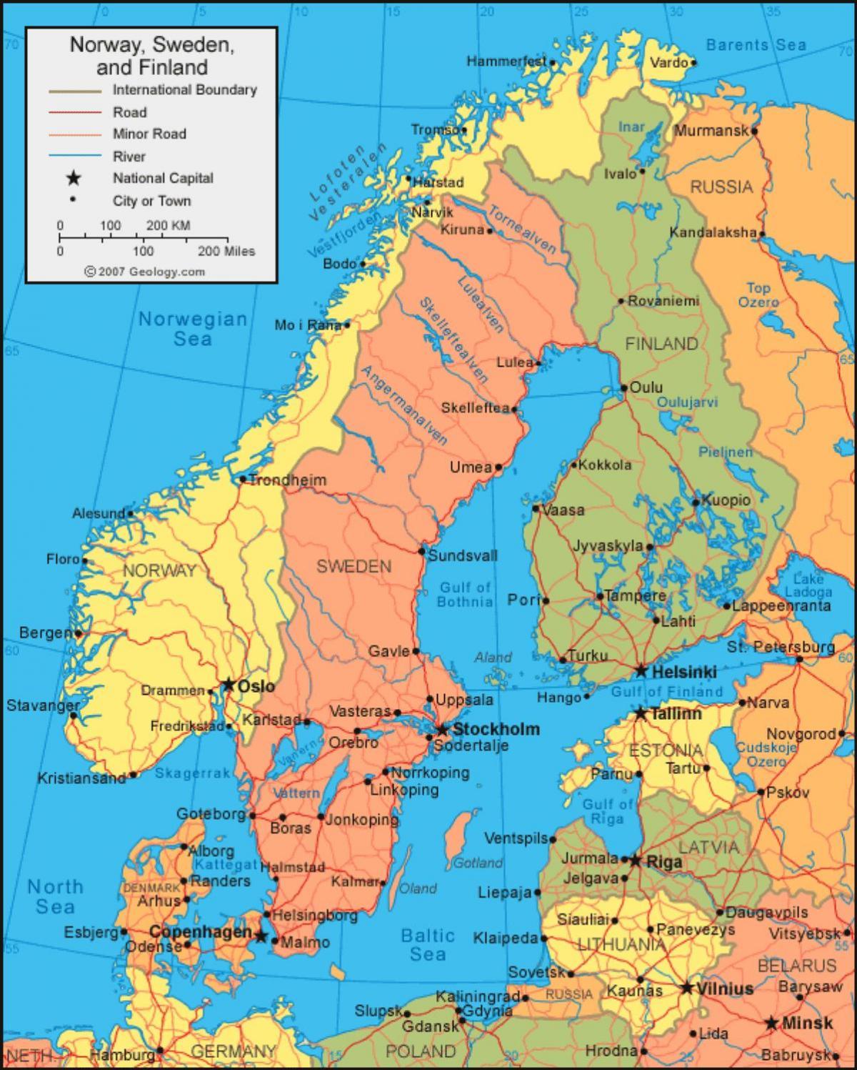 Zweden Op De Kaart Zweedse Kaart Noord Europa Europa