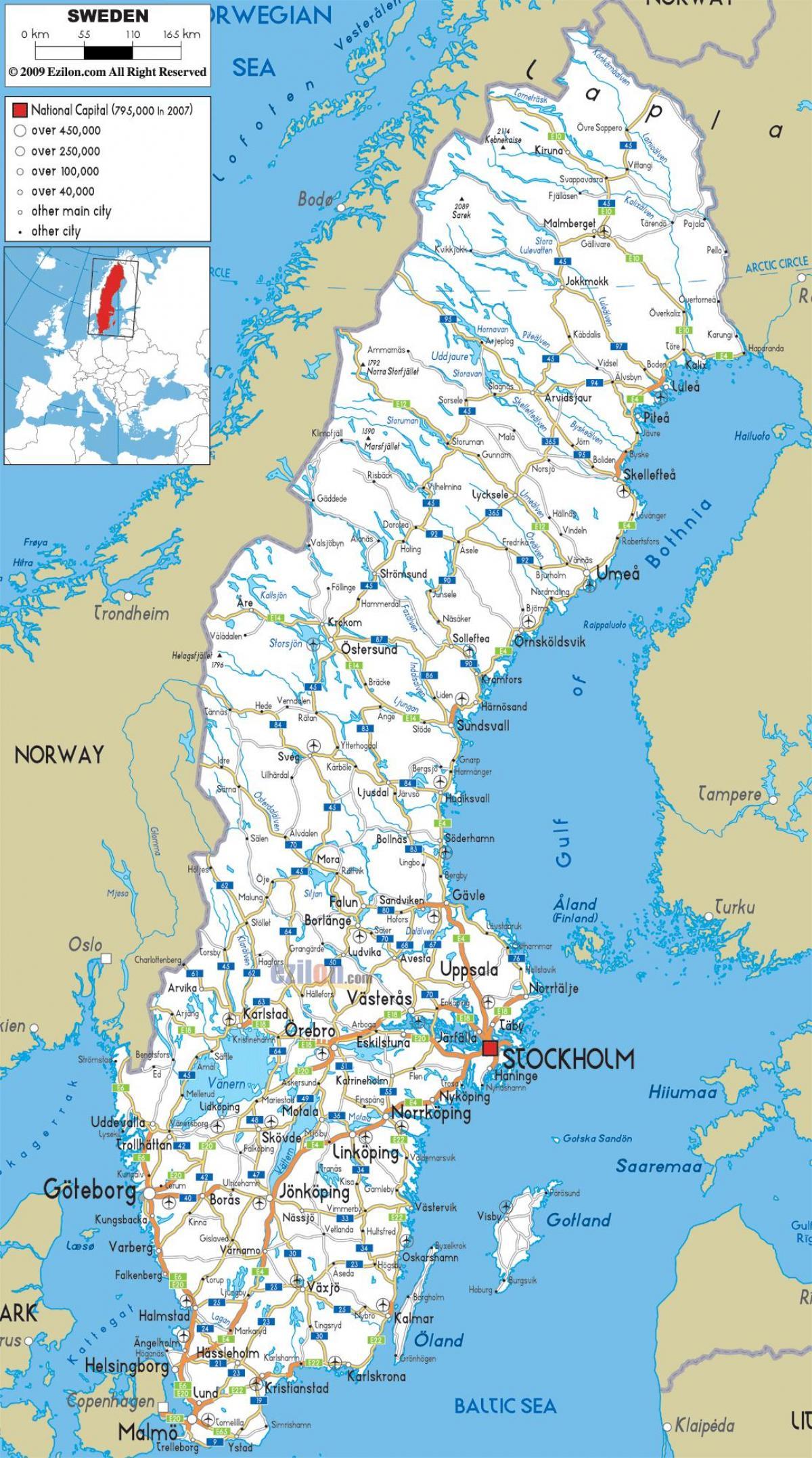 Zweden Steden Kaart Zweden Kaart Met Steden In Noord Europa
